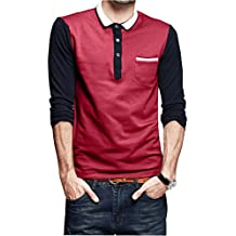 Mens Slim-Fit Long Sleeve Collared Lapel Polo Casual T-Shirt Designed with Pocket