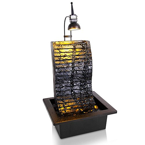SereneLife Slate Desktop Electric Water Fountain Decor Illuminated w/ LED Spotlight - Indoor Outdoor Portable Tabletop Decorative Zen Waterfall Kit Includes Submersible Pump & 12V Adapter - - Slate Fountain Water Floor