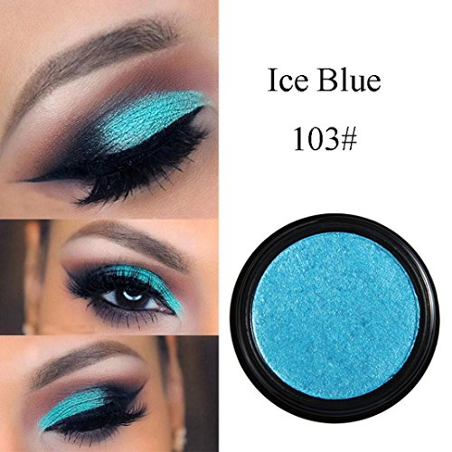 SMYTShop Single Baked Eye Shadow Glitter Eyeshadow Powder Palette in Shimmer for Professional Makeup or Daily Use 24 Metallic Colors Optional (103# Ice (Ice Blue Duo)