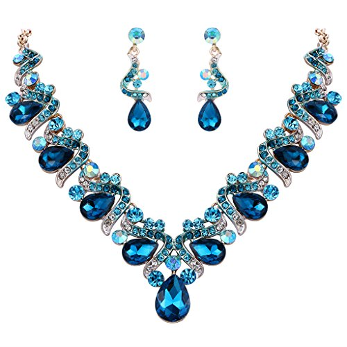 FANZE Women's Austrian Crystal Bohemian Bowknot Teardrop Bridal Earrings Necklace Jewelry Set Gold-Tone Blue