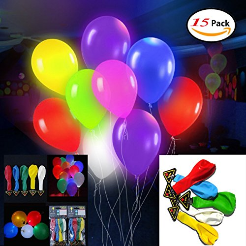LLOP 15 packs LED Light Up Balloons Flashing
