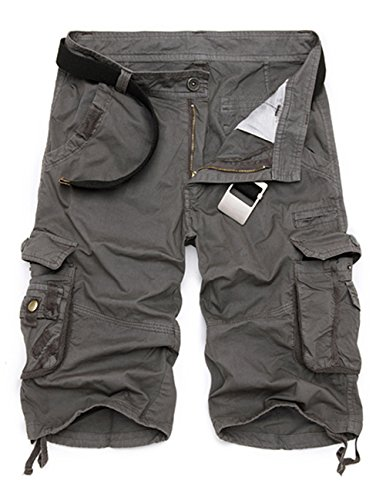 Menschwear Hombres Bermuda Cortos Pantalones Cargo Verano Cortos Deporte Shorts Playa Cortos Multi-bolsillo con cinturón (40,Gris)