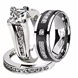 Marimor Jewelry Hers and His Stainless Steel Princess Wedding Ring Set & Titanium Wedding Band Women's Size 06 Men's Size 10