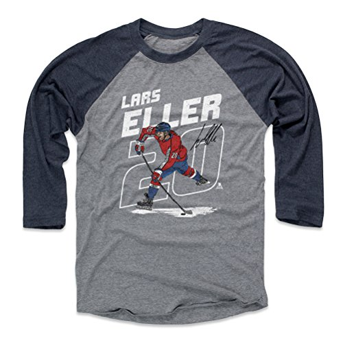 500 LEVEL Lars Eller Baseball Tee Shirt (X-Large, Navy/Heather Gray) - Washington Capitals Raglan Tee - Lars Eller Number W WHT