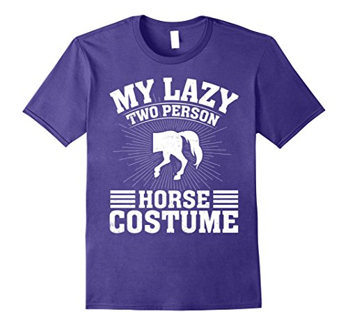 Mens My Lazy Two Person Horse Costume Halloween Couple T-Shirts Large Purple