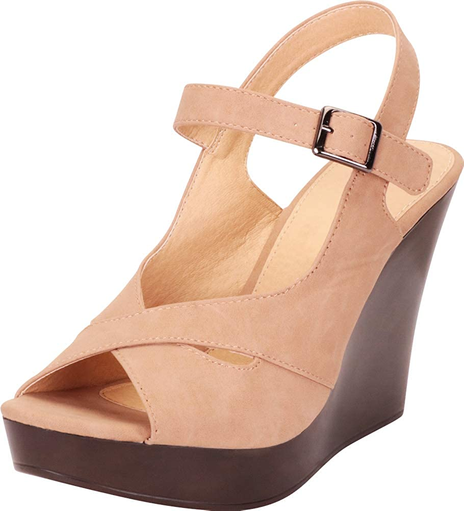 Camel Nbpu Cambridge Select Women's Peep Toe Crisscross Strappy Chunky Platform Wedge Sandal