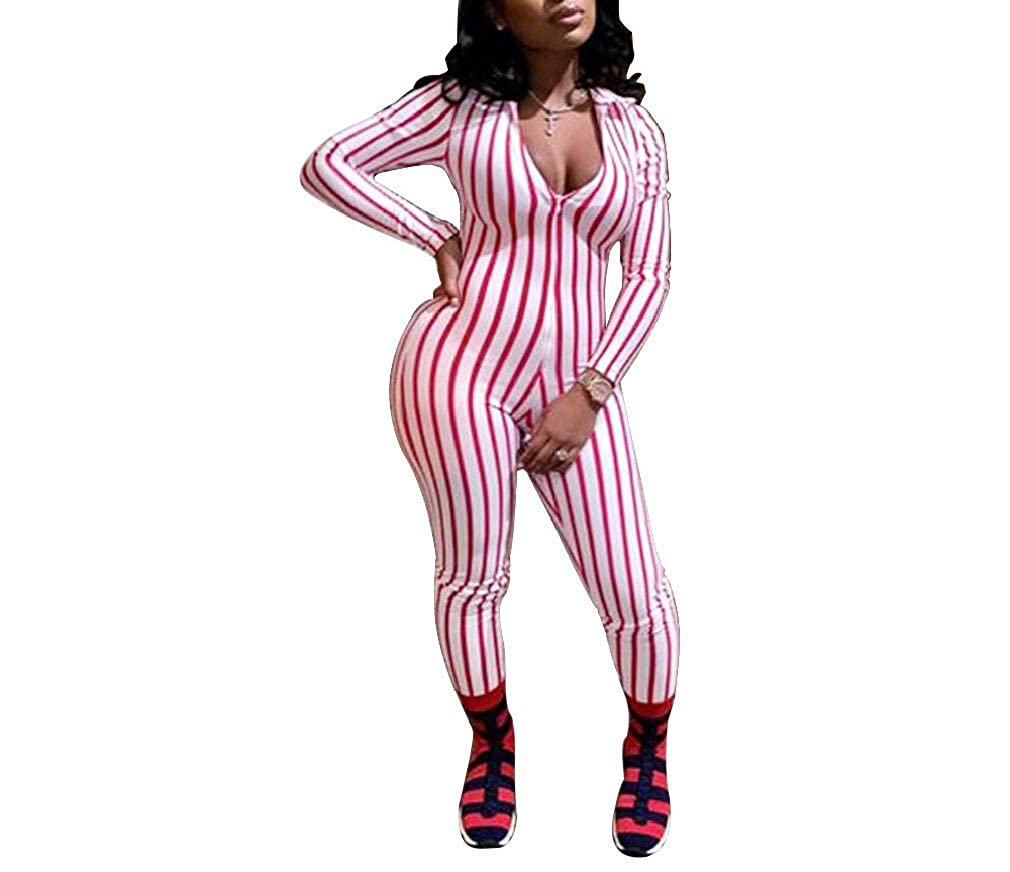 Sayah Womens Active Plunge V Neck Slim Fit Pinstripe Jumpsuit Romper
