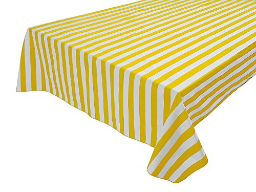 lovemyfabric Cotton 1 Inch Striped Tablecloth for Wedding/Bridal Shower, Birthdays/Baby Shower, Special Events (58