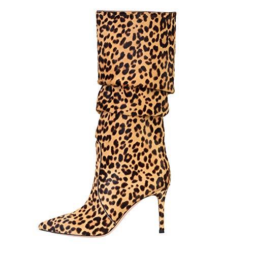 Fatto Sexy 38 Stivali Yellow Mano Tacco Pompa SYYAN Leopardo Inverno Centrali Alto Donna Scamosciato A twwq0P4S