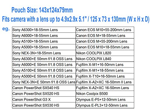 JJC Black Ultra Light Neoprene Camera Case for Sony a6600 a6500 a6400 a6300 a6100 a6000 a5100 +18-55mm/E 50mm F1.8 Lens, Pouch Bag for Fuji X-T30 X-T20 X-T10 +16-50mm, Canon PowerShot SX530 SX540 G3X
