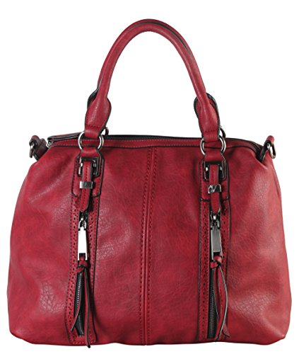 diophy-double-front-pockets-doctor-style-tote-handbag-cz-3726-wine