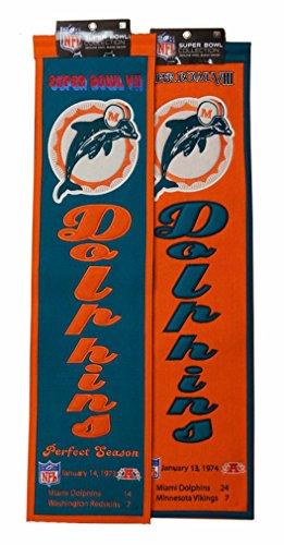 Winning Streak Miami Dolphins VII (7) VIII (8) Super Bowl Championship 8x32 Banner Set