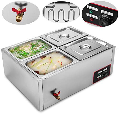VEVOR Commercial Food Warmer 110V Electric Food Warmer 850W Stainless Steel Bain Marie Buffet Food Warmer Steam Table for Catering and Restaurants (4-Pan) ()