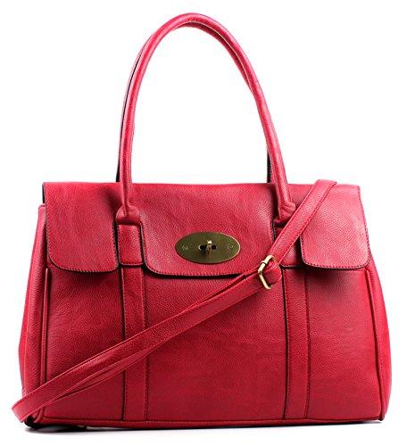 Red Leather Turnlock Shoulder Large Faux Handbag Bag Aossta zpFqOxPwz
