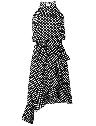 Black Halter Flounce Dress - YSJERA Women's Polka Dot Boho High Low Flounce Hem Sexy Casual Evening Party Halter Dresses (2XL,Black)