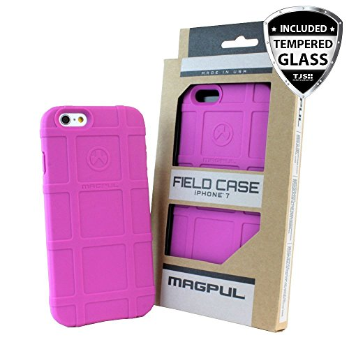 iPhone 7 Case, iPhone 8 Case, with TJS [Tempered Glass Screen Protector], Magpul [Field] MAG845 Polymer Case Cover Retail Packaging for Apple iPhone 7/iPhone 8 4.7 inch (Pink)