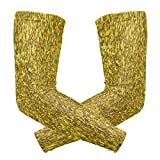 Arm Sleeves Glitter Golden Mens Baseball Long Cooling Sleeves Sun UV Compression Arm Covers