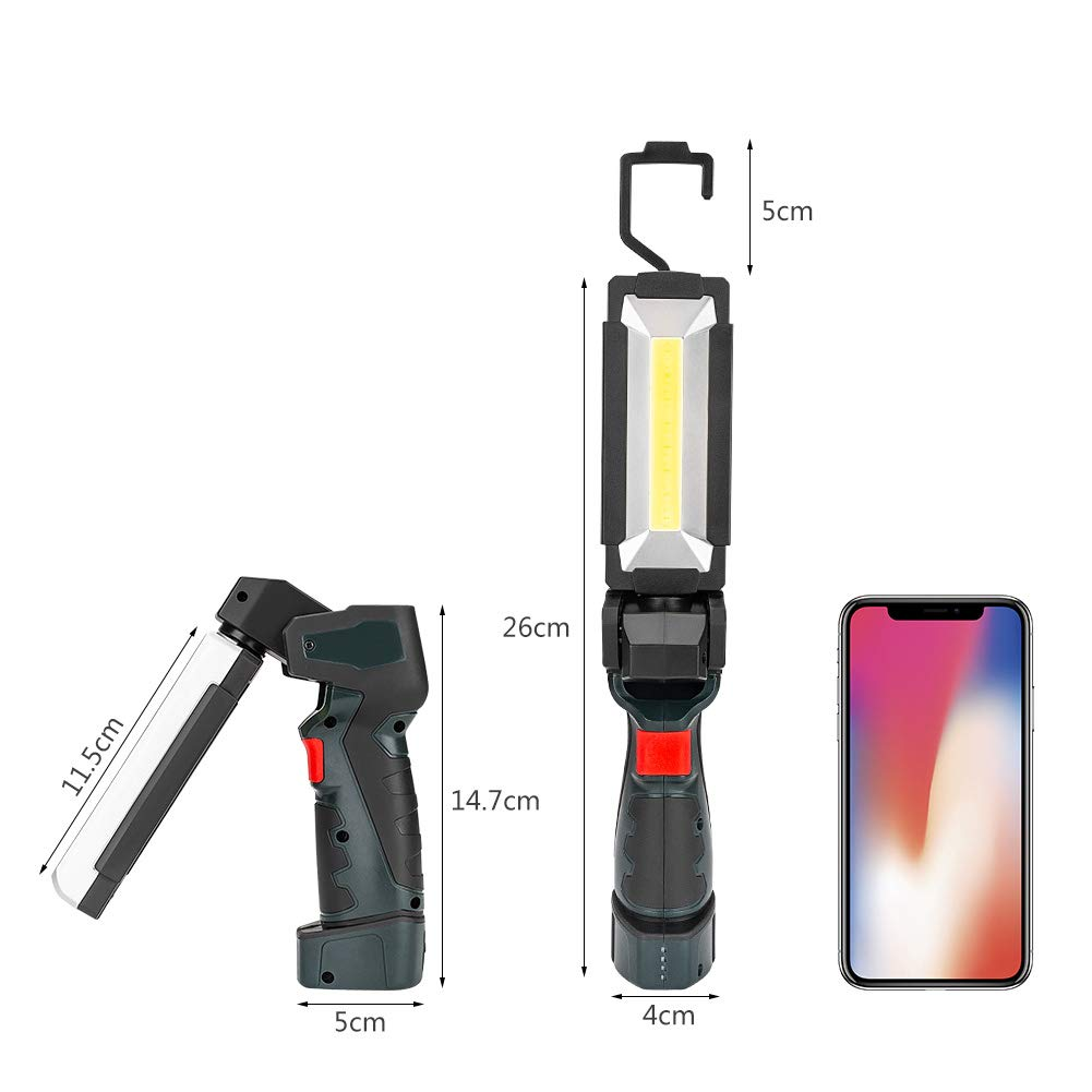 2 Pack, 27x4.5cm LED Work Light COB Portable Rechargeable with Magnetic Base 360 Rotate and 5 Modes Bright Flashlight Inspection Lamp for Car Repair Household and Emergency Use