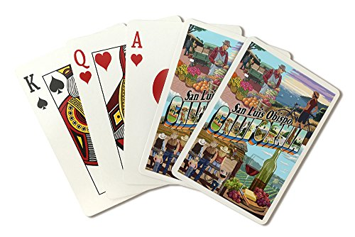 San Luis Obispo, California - large Letter Montage (Playing Card Deck - 52 Card Poker Size with Jokers)