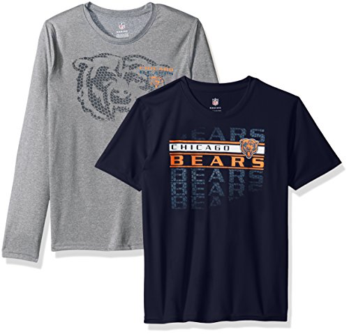 NFL Youth Boys Interface Performance T-Shirt Combo Pack-Deep Obsidian-S(8), Chicago Bears (Interface Graphics)