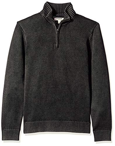 Goodthreads Men's Soft Cotton Quarter Zip Sweater, Washed Black, X-Large (Cardigans Men Big For And Tall)