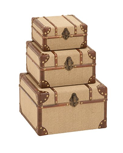 Deco 79 Wood Burlap Boxes, 12 by 10 by 8-Inch, Set of 3 (Boxes Rope Woven Set)