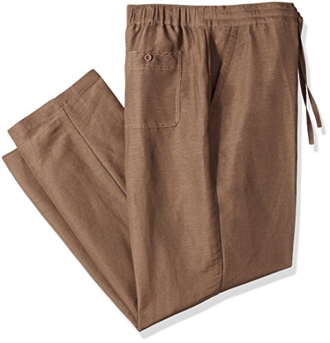 Drawstring Pant with Back Elastic Waistband, Chocolate Brown, 5X-Large x 32L (Big) Button Down Chocolate Apparel