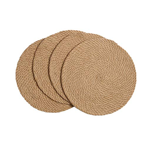 SHACOS Round Braided Placemats Set of 4 Natural Jute Handmade 12 inch Heat Resistant Thick Hot Pads Mats Trivet (Jute Brown, 12 Inch) (Brown Round Woven Placemats)
