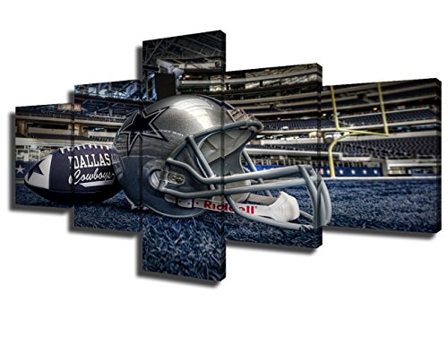 Cowboy Panels - 5 Panel Dallas Cowboys Canvas Prints Painting Wall Art NFL Sport Home Decor Framed Pictures Modern Artwork Home Decor for Living Room Giclee Gallery-wrapped Stretched Ready to Hang(50''Wx24''H)
