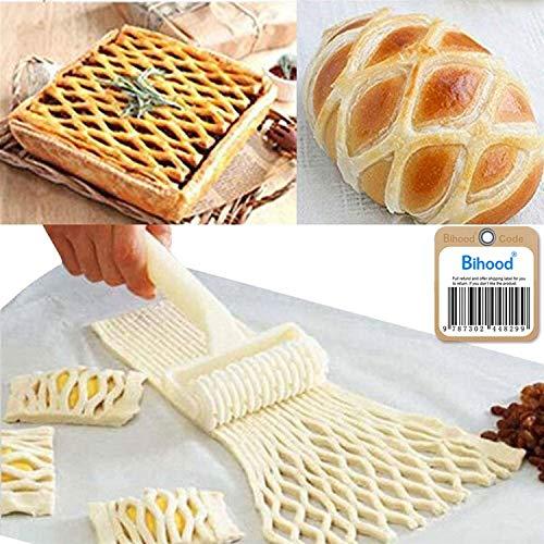 Bihood Dough Lattice Top Cookie Pie Pizza Bread Pastry Crust Pizza Maker Pizza Dough Roller Lattice Roller Egg Tart Mold Fondant Roller Pizza Peel Cake Ball Roller Strip Embosser Roller Wheel Set