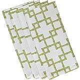 E by design Bamboo 2, Geometric Print Napkin, 19 x 19'', Green