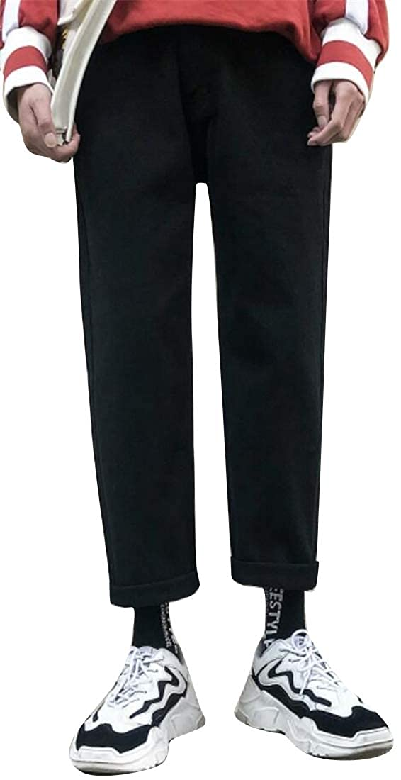Fubotevic Mens Thicken Ankle Loose Fit Wide Leg Denim Straight Leg Casual Pants