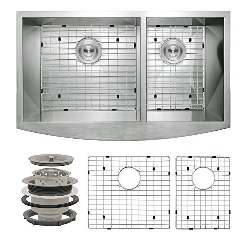 Perfetto Kitchen and Bath 33' x 20' x 9' Apron Undermount 60/40 Double Bowl 18 Gauge Stainless Steel Kitchen Sink with Drain and Dish Grid