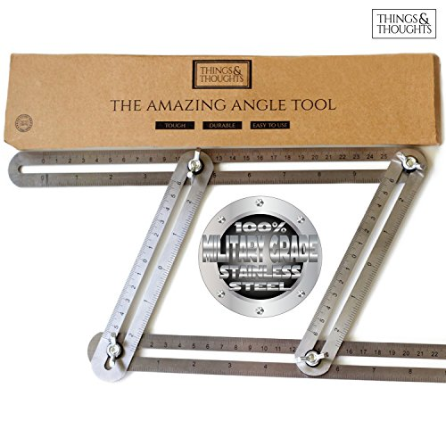 The Amazing Angle Tool | Find & Measure Angles for Professional Quality Results When Cutting & Laying Tile, Laminate, Brick, Pavers, & Roof Rafters ~ Military Grade Stainless Steel by Things&Thoughts