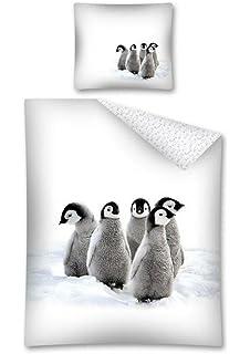 Weihnachten Baby Pinguine Sterne Blau Baumwollmischung Einzelbett Bettbezug