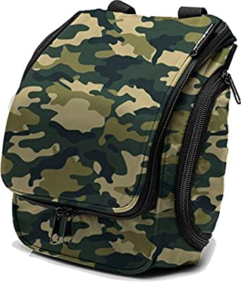 Compact Hanging Toiletry Bag, Personal Organizer | Rugged & Water Resistant with Mesh Pockets & Sturdy Hook | Camo