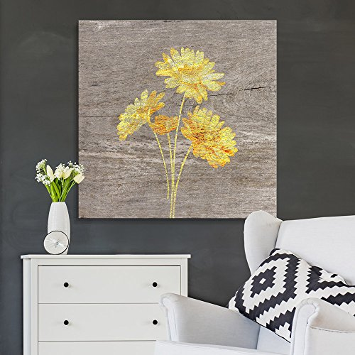 Square Yellow Daisy Wood Effect