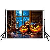 TAOtTAO Halloween Backdrops Pumpkin Vinyl 5x3FT Lantern Background Photography Studio (D)