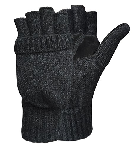 Korlon Warm Winter Wool Knitted Convertible Gloves Mittens with Mitten Cover