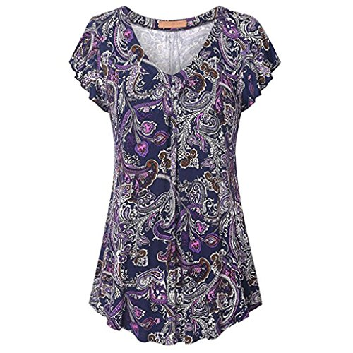 Price comparison product image Forthery Women Blouse 3 / 4 Sleeve Floral Tunic Tops Summer Shirts Clearance Sale (L,  Purple A)