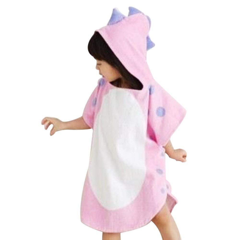 Zinsale Kids Dinosaur Hooded Beach Bath Towel Soft Cotton Poncho Children Bathrobe Blanket Pink, 60x120cm
