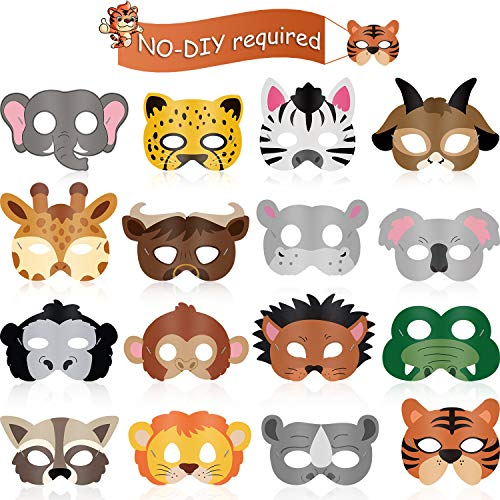 16 Piece Animal Masks Animal Costume Party Favors with 16 Different Animal Face for Petting Zoo Farmhouse Jungle Safari Theme Birthday Party Halloween Masks Dress-Up Party Supplies (Kids Jungle Costume)