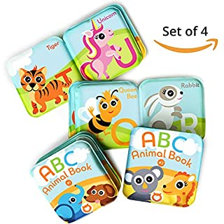 Floating Baby Bath Books. Kids Learning Bath Toys. Waterproof Bathtime Toys for Toddlers. Kids Educational Infant Bath Toys.(Set of 4: ABC Animal Bath Books)