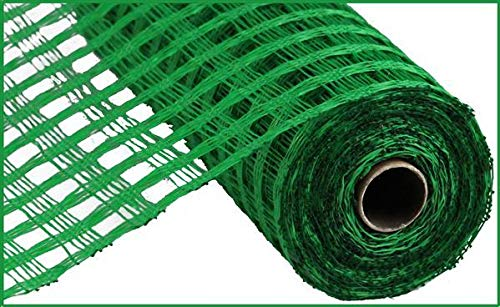 10 inch x 30 feet Poly Burlap Check Mesh Ribbon (10 Inch x 30 feet, Emerald Green)