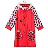 SILVERFEVER Rain Coat Kids Cartoon Characters Thick Raincoat Rain Poncho for Girls Boys with School Bag Cover (Red Lady Bug, Medium)