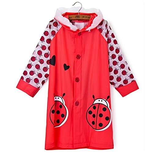 SILVERFEVER Rain Coat Kids Cartoon Characters Thick Raincoat Rain Poncho for Girls Boys with School Bag Cover (Red Lady Bug, ()