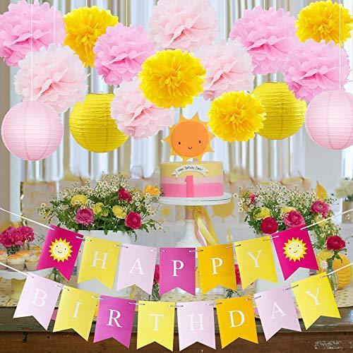 Pink Lemonade Birthday Party (HappyField Sunshine First Birthday Decorations You Are My Sunshine Birthday Party Decorations Lemonade Birthday Party Yellow Pink Tissue Pom Poms Paper Lantern Happy Birthday Banner for Sunshine)