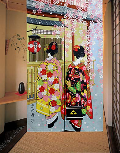 LIGICKY Noren Japanese Style Long Doorway Curtain Kyoto Geisha Girls and Cherry Blossom Window Treatment Tapestry for Home Decoration 33.5 x 59 inch
