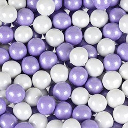 Lavender & White Shimmer Pearl Sixlets Mini Milk Chocolate Balls 1LB Bag (Chocolate Balls Mini)