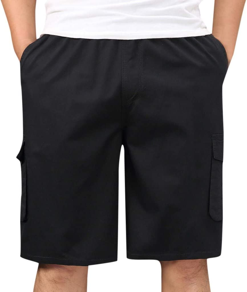 Cobcob Men's Shorts Casual,Work Short Pants Trousers Pockets Summer Sport Outdoor Solid Big and Tall Cargo Shorts